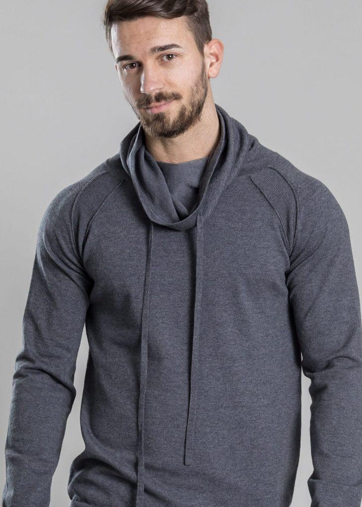Connemara Pullover Nathan aus Viskose-Stretch | grau melange