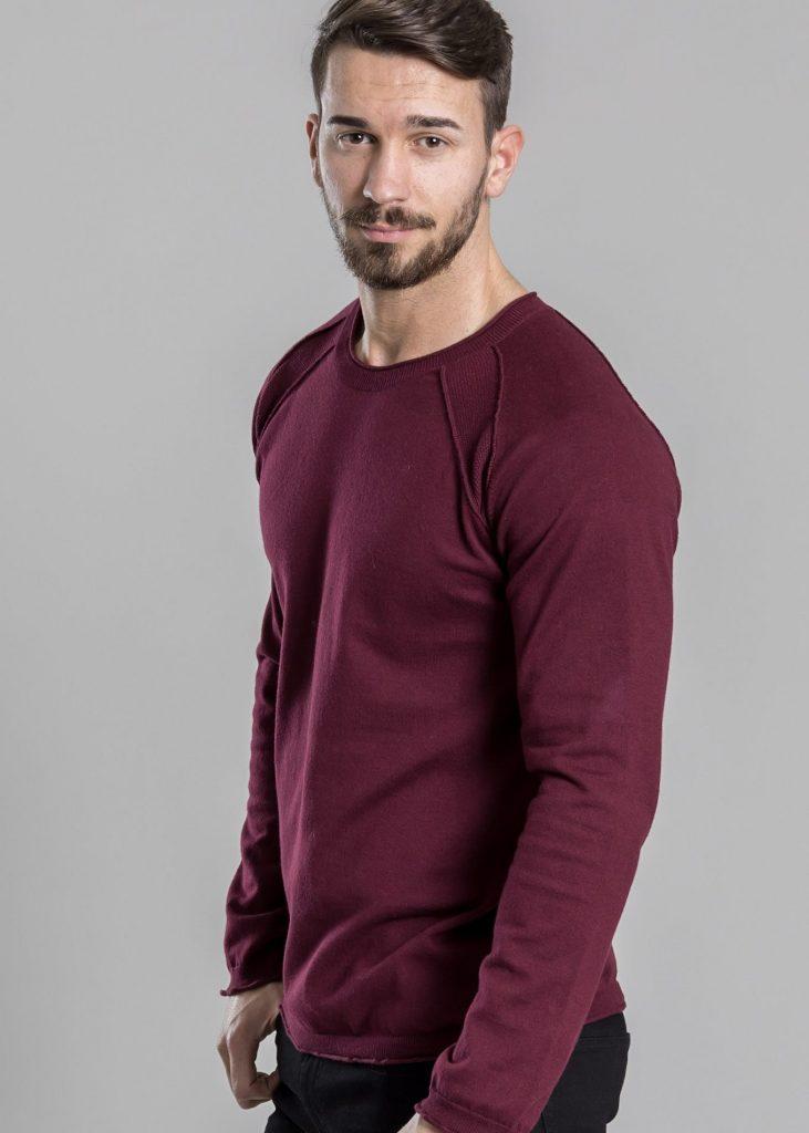 Connemara Pullover Nathan aus Viskose-Stretch | bordeaux