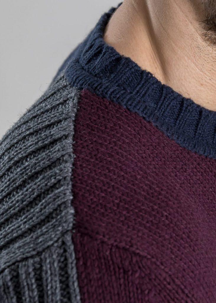 Connemara Pullover Rasmus aus Wolle-Kaschmir-Mix | Intarsie mit Rippen kombiniert | grau, bordeaux, olive & navy
