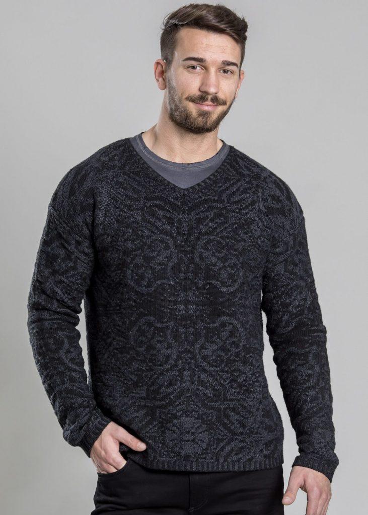 Connemara Pullover Robin aus Wolle-Kaschmir-Mix | plattiert | anthrazit mit grau