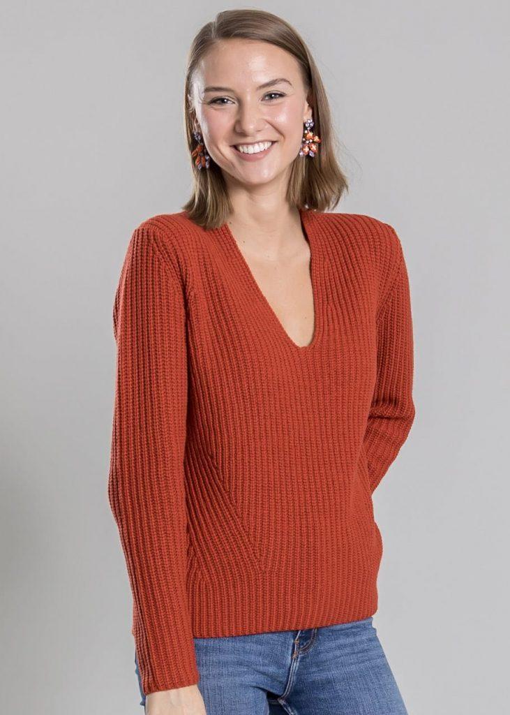 Connemara Pullover Ronette aus Wolle-Kaschmir-Mix in orange