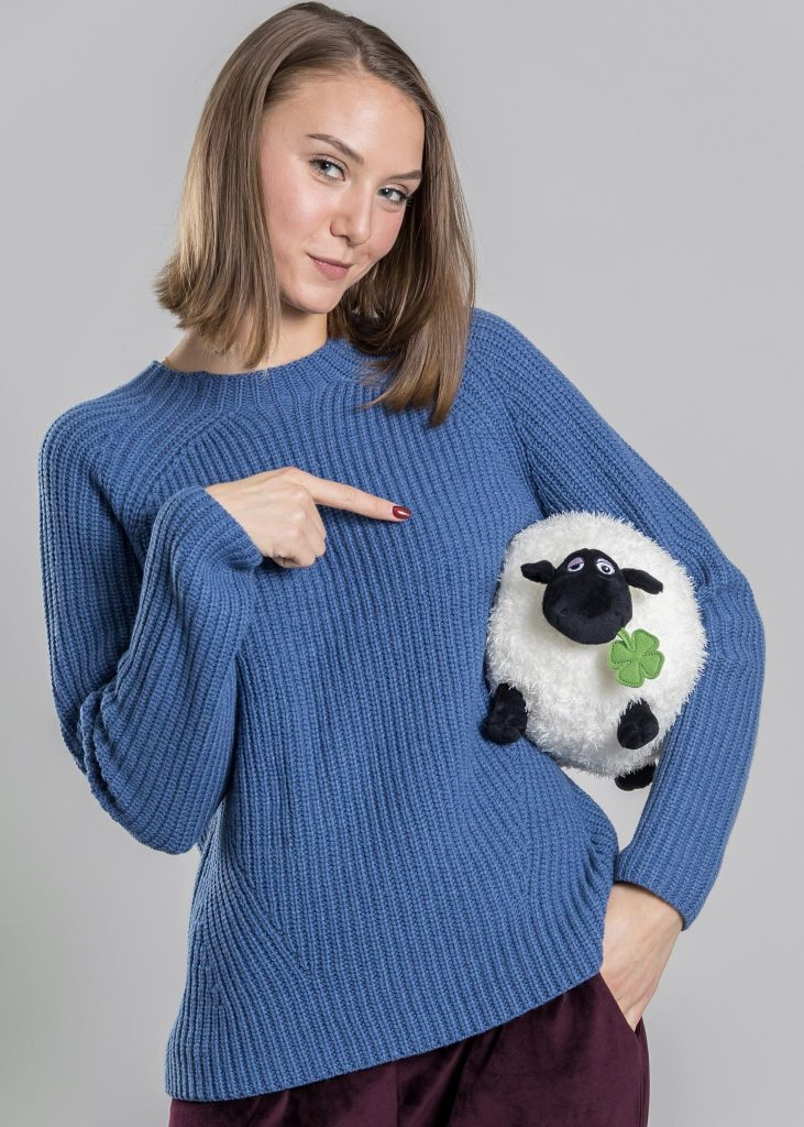 Connemara Pullover Rossana aus Wolle-Kaschmir-Mix in blau