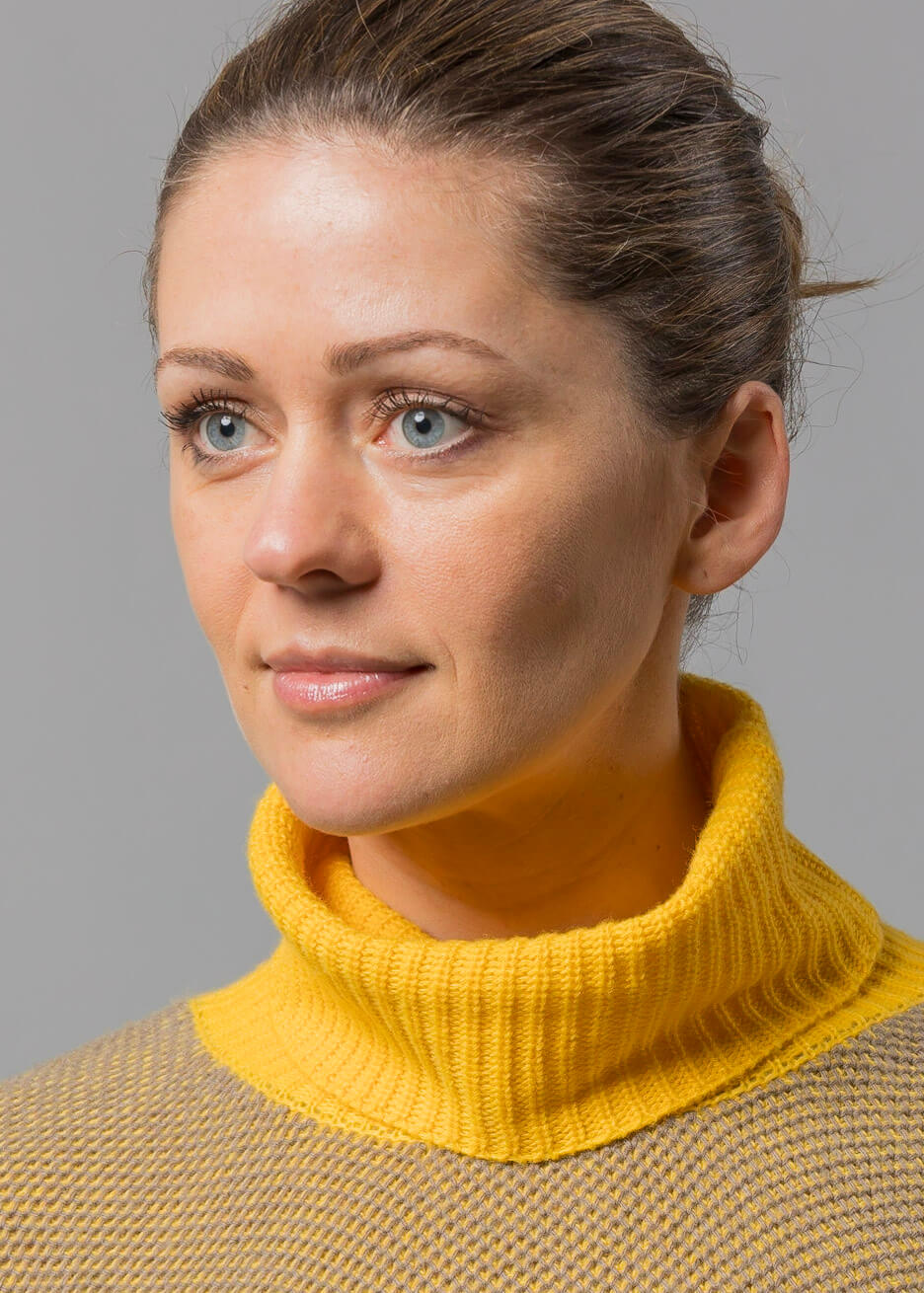 pullover damen mir Rollkragen in gelb
