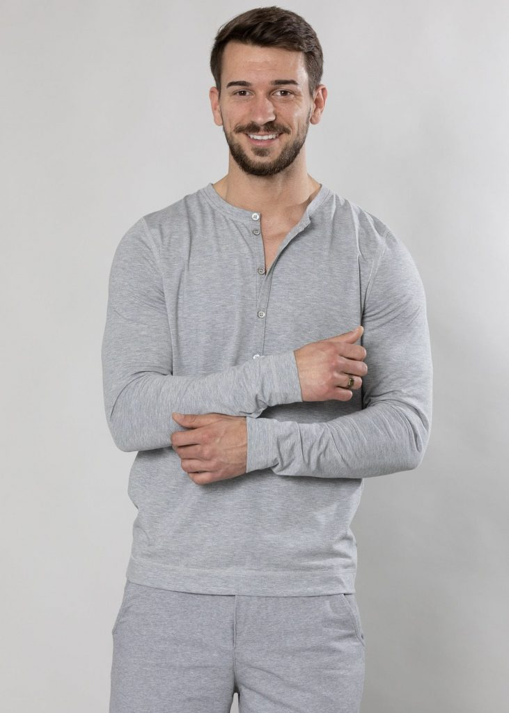 grau meliertes Serafino Shirt von Connemara aus Viskose-Elasthan