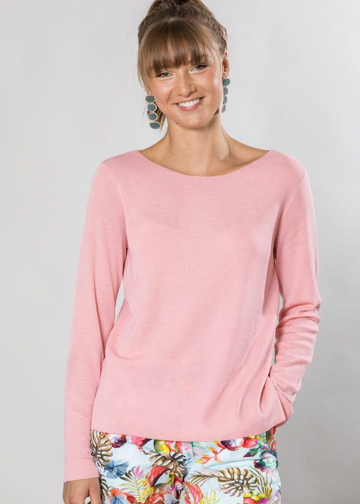Connemara Pullover Shannon aus Merinowolle superfein in rosé
