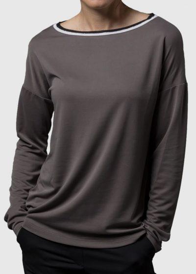 Lässiges Shirt von Connemara aus Modal in grau mit Strickkragen