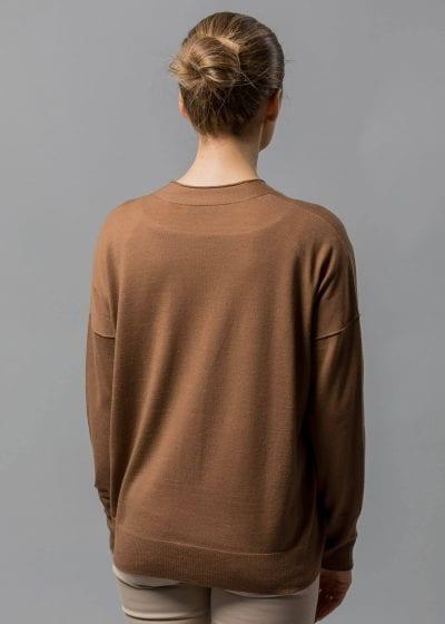 Rückenansicht Strickjacke Damen cognac braun von Connemara