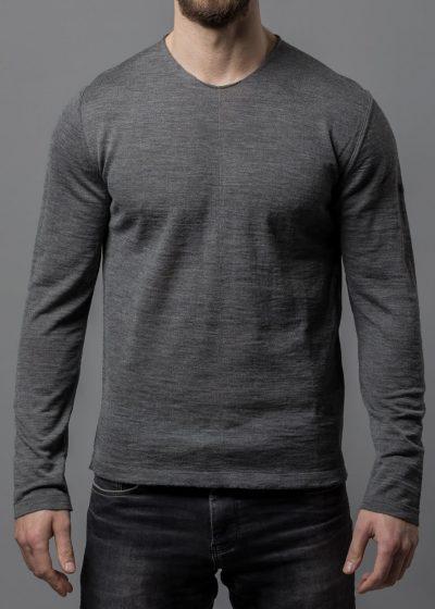 Merinopullover für Herren mit Rundhals Ausschnitt grau melange von Connemara