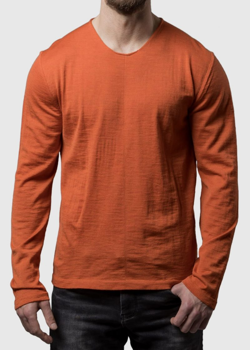 Herren Pullover orange in Merino von Connemara