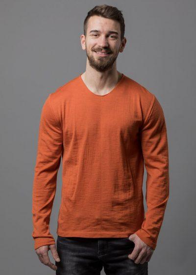 Herren Pullover orange in Merino von Connemara