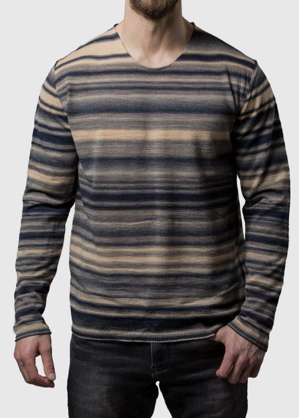 Connemara Sommer Pullover Xaver aus bedrucktem Wollmix Garn