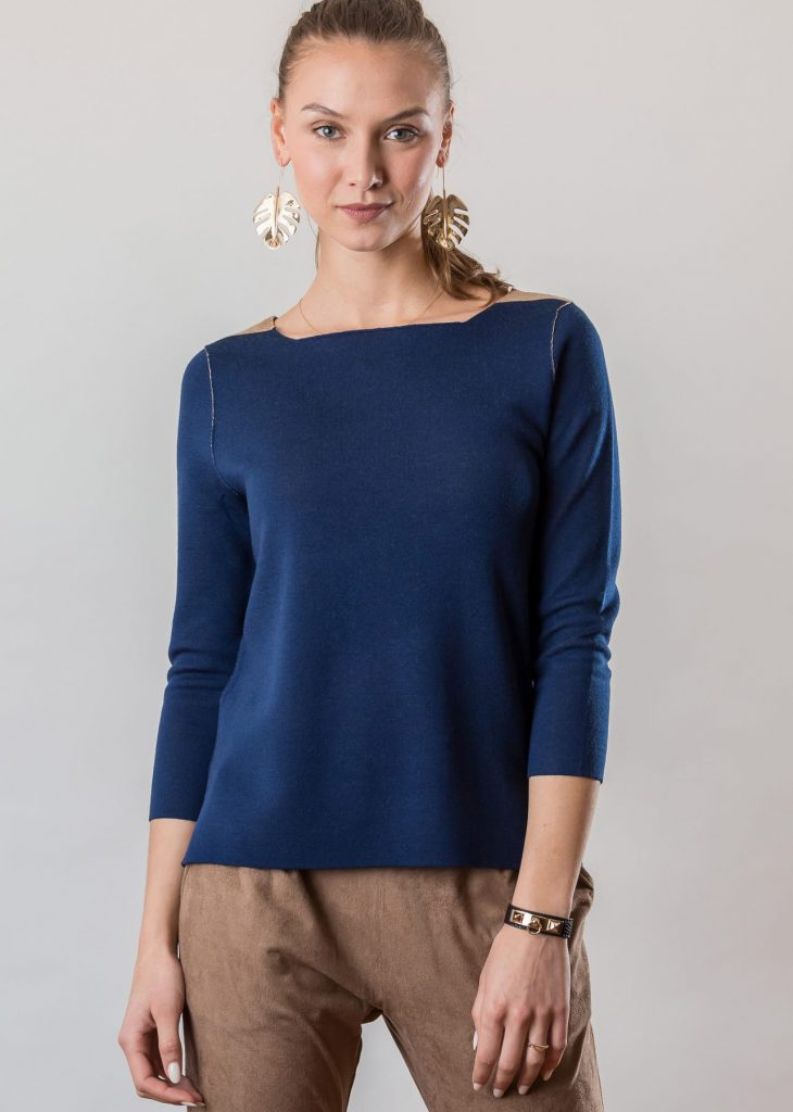 Connemara Doubleface Pullover Sora aus Merinowolle superfein in blau | besch