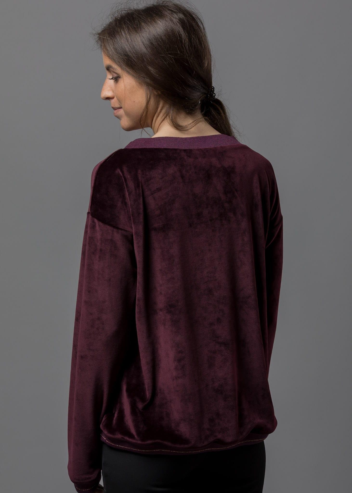 Kuschelige Samt Sweatshirt Damen von Connemara in weinrot