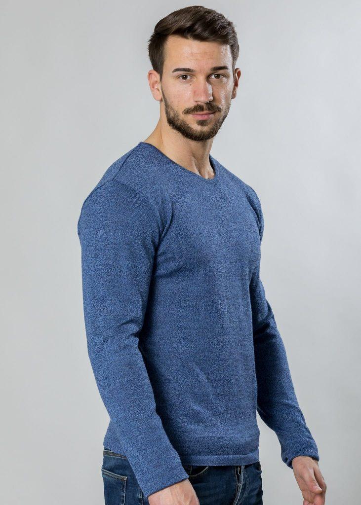 Connemara Pullover Tim aus Merinowolle in blau mouliné | Made in EU