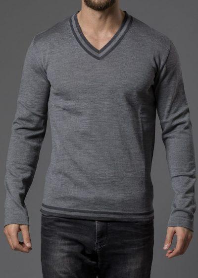 Merinopullover für Herren mit mehrfarbigem V Ausschnitt grau melange von Connemara