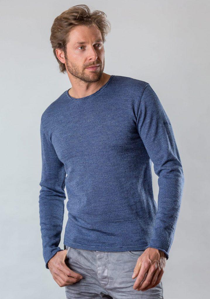 Connemara Pullover Tyler aus Merinowolle in blau mouliné | Made in EU