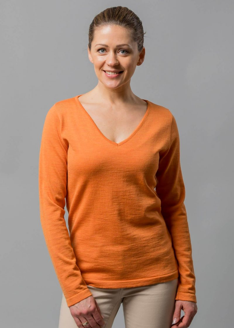 Connemara Damen Pullover Wolle V-Ausschnitt Billie in orange
