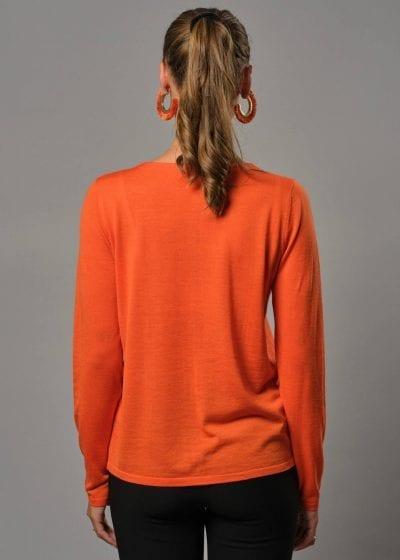 Connemara Strickjacke Damen orange mit Rundhals.