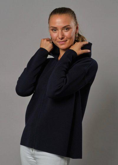 Hoodie Merinowolle Damen Brianna in marine von Connemara eine merino jacke damen