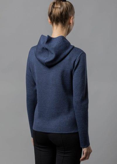 Kapuzenjacke Damen blau von Connemara aus Merinowolle extrafein