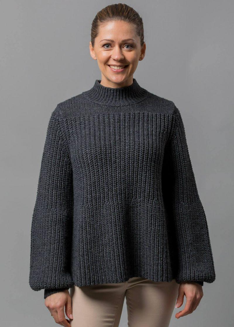 Connemara Ballonärmel Pullover Zora in anthrazit