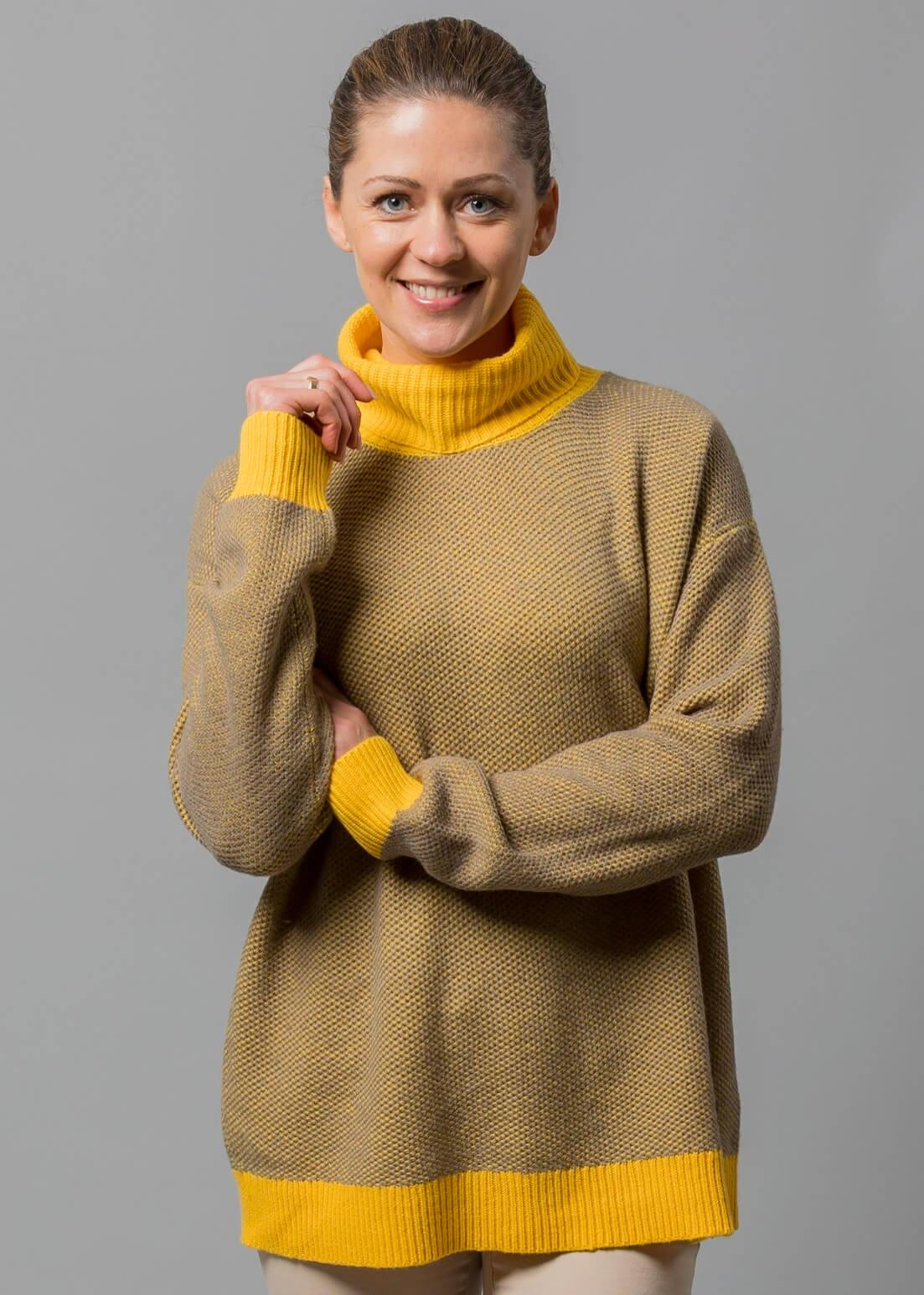 Rollkragenpullover Damen gelb von Connemara